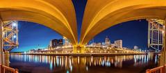 Under The Bridge (Mike Plucker) Tags: stpaul bluehour bridge mississippi mississippiriver pano minnesota