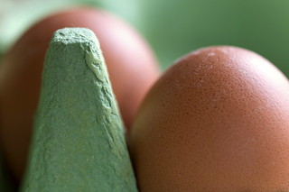 Brown Eggs in Green Box