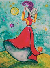 The Happy Medium from A Wrinkle in Time (~M. L'Engle).  Watercolor and pen. THANK YOU, in Explore!!! (entwoman) Tags: watercolours watercolor pen gelpen illustration mixedmedia explore