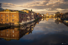 Mirror image... (Kerriemeister) Tags: york north yorkshire bonding warehouse river ouse reflection city clouds sky nikon bridge boats skeldergate view