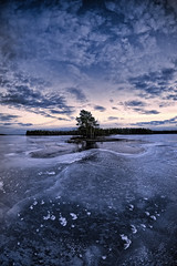 Dark blue world (Kari Siren) Tags: isle island ice lake sky karijärvi jaala finland samyang 8mm fisheye