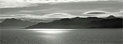 Silvery Sound (Senaid) Tags: morning light bw panorama mountains silver mono nikon silvery photostitch knoydart soundofsleat beinnsgritheall ladharbheinn d5000 dubhard