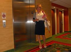 Elevator Series (krislagreen) Tags: pumps cd hose tgirl transgender purse transvestite crossdress tg cardi pencilskirt