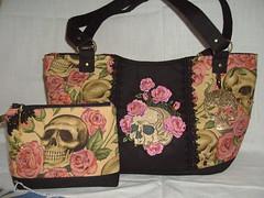 skull and roses (delsdesignz) Tags: roses skull handmade makeup charm fabric purse zipper handbagtote