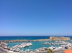 Cyan and other colours (gglyko) Tags: blue sea summer beach coffee beautiful island day cyan sunny clear greece crete venetian midday fortress heraklion candia iraklion koules