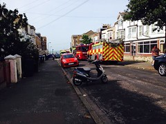 Fire, Godwin Road, Margate (whitaker_joel) Tags: rescue fire kent smoke flames engine property pump sabre service ladder dennis emergency e1 xl margate firefighters services scania jdc cliftonville wholetime secamb cp28