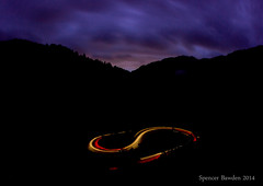 Big Cottonwood S Curve Sundown (Spencer Bawden Photography) Tags: road street mountains cars night utah blurred headlights canyon fisheye cottonwood spencer taillights bawden scurve spazoto