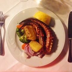 Greek cuisine, octopus on a plate!