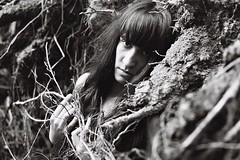 Sandra (flyalot) Tags: portrait bw girl forest woods witch longhair lodenice