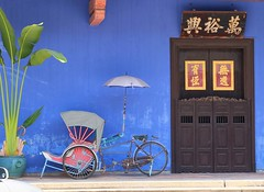 The Blue Heritage (stardex) Tags: door blue plant building heritage architecture georgetown unesco malaysia mansion penang trishaw cheongfatttze leithstreet stardex