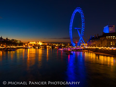 The London Eye (Michael Pancier Photography) Tags: uk greatbritain travel vacation england london thames unitedkingdom londoneye parliament gb bluehour riverthames westminsterbridge thelondoneye travelphotography commercialphotography naturephotographer landscapephotographer fineartphotographer michaelapancier wwwmichaelpancierphotographycom summer2014
