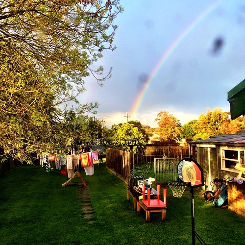 365/192 • I have numb fingers from hanging out the washing - which immediately got a sky-rinse. But we got a two minute rainbow • #2014_ig_192 #backyard #saturdaymorning #winter #rainbow #morningtonpeninsula