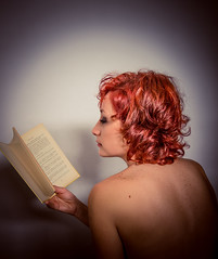 stories full of letters (sarasfotografias) Tags: girl writing book words pretty letters redhead read wishes imagination phrases lether