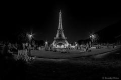 Paris 2014-24 (Sneaky Chino) Tags: longexposure blackandwhite paris france night eiffel fisheye 8mm samyang