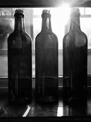 2014 365 arlophotochallenge 205-365 - trio (Arlo Bates) Tags: summer blackandwhite bw sun canada winnipeg bottles manitoba backlit speedlight westend retica postedtoflickr nexus5 googlenexus5 2014365photoproject