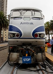BLUE STOP SIGN (Prayitno / Thank you for (5 millions +) views) Tags: california santa ca station train town san downtown engine diego down amtrak fe 463 lok surfliner lokomotif konomark