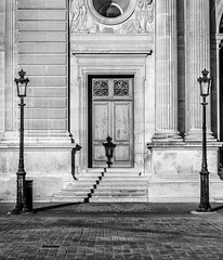 One day in Paris (RecipeTaster) Tags: door urban blackandwhite paris france building architecture stairs louvre