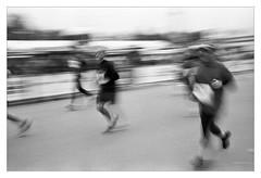 Orlen Warsaw Marathon 2014 (antidotum) Tags: people bw analog canon bodylanguage kodaktx400400 tmax1420c6 orlenwarsawmarathon2014