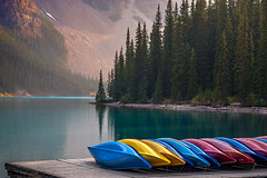 Warm memories (JoLoLog) Tags: trees lake canada mountains canoneos20d alberta rockymountains banffnationalpark moshe morainelake canadianrockies valleyofthetenpeaks mountainpeaks elitegalleryaoi
