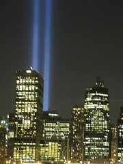 911 Memorial Light from Brooklyn Heights 2014 NYC 7643 (Brechtbug) Tags: world from new york 2001 city nyc light art monument public fountain thanks brooklyn night lite anne lights for photo memorial manhattan 911 meadows bridges ground center 11 september company wtc years lower fountains suggestions 13 heights trade zero fdny beams lites 2014 2011 09112014