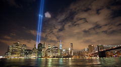 9/11 Tribute Lights, 2014 (nyotaku) Tags: new york city nyc newyorkcity lights manhattan 911 september wtc tribute september11 11th lowermanhattan 2014 freedomtower tributelights 1wtc