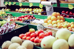 fruit stand (deanmackayphoto) Tags: nyc newyorkcity red newyork green film apple fruit 35mm tomato avocado lemon honeydew plum pear grapefruit lime fruitstand melon gala grape cantaloupe