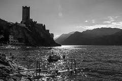 The Castle in Backlight (drugodragodiego) Tags: blackandwhite bw italy castle backlight reflections pentax verona castello malcesine biancoenero controluce lagodigarda k3 gardasee veneto pentaxda1650mm smcpentaxda1650mmf28edalifsdm pentaxiani pentaxk3