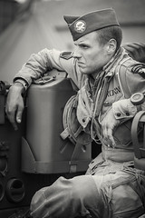 World War II Reenactment (SauceyJack) Tags: camp blackandwhite bw history monochrome soldier blackwhite illinois war uniform gun cosplay military wwii monochromatic september il ill worldwarii american actor guns reenactment troops officer axis reenactors rockford reenact allies 2014 portray alliedpowers lr5 midwayvillagemuseum lightroom5 canon1dx 7020028isiil sauceyjack midwayvillagehistorymuseum