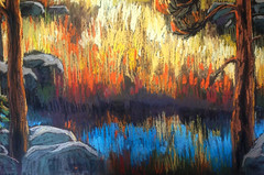 fragment of the landscape (Kira_Culufin) Tags: tree water landscape chalk pastel commission pastelart