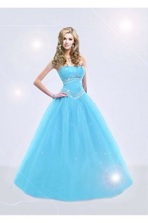 Exquisite Strapless Floor Length Ball Gown Blue Prom Dress