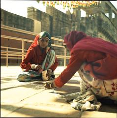Kolam Drawing II (Nina Across the Universe) Tags: rollei rolleiflex35 rolleiflex jodhpur india kolam astia fuji xpro medioformato mediumformat 120mm indian hindu analog film filmisnotdead beliveinfilm filmcamera