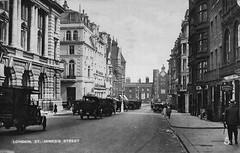 St. James's Street (Leonard Bentley) Tags: stjamessstreet pallmall stjamesspalace clubland raphaeltuck postcard cannonrow london uk 1915 1930 1934 holland britishindustriesfair taxis cabrank