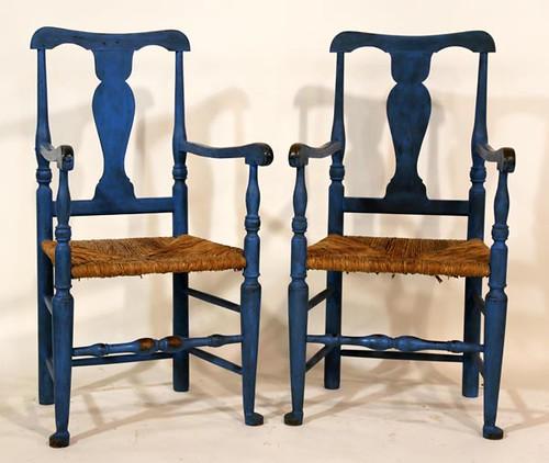6 Blue Painted Rush Bottom Chairs ($308.00)