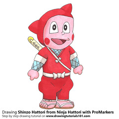 Shinzo Hattori from Ninja Hattori with ProMarkers [Speed Drawing] (drawingtutorials101.com) Tags: shinzo hattori ninja hattorikun manga motoo abiko anime japanese promarkers promarker color coloring alcohol markers marker draw drawing drawings how sketch sketches sketching