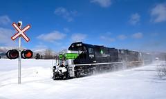 Crossing closed for the winter (Michael Berry Railfan) Tags: sociétéduchemindeferdelagaspésie train freighttrain windmilltrain unittrain gaspe gaspesie mlw alco montreallocomotiveworks rs18 sfg1819 sfg