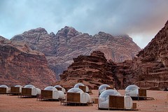Space Age (Travels with Kathleen) Tags: desert outdoor wadirum jordan bedouin camp stargazing bubble tents mountains fog sand
