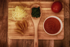 Family Dinner (flashfix) Tags: april012017 2017inphotos ottawa ontario canada canon canoneos5dmarkii 5dmarkii 100mm food ingredients pasta italian spinach foodphotography cuttingboard sauce shells cheese tomato spoon wood