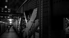 On the South-side of the Bridge... (Mars Mann) Tags: blackandwhitephotography nightphotography urbanstreets bridge london lowlight marsmannphotography path walking people nighttime olympusem1 monochrome