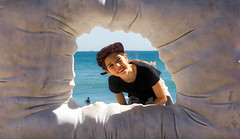 63+421: Hello! (geemuses) Tags: 2017sculpturebythesea cottesloe beach wa perth fremantle sculpture arts scenic scenery installations water sea ocean sand surf landscape sky bluesky waves swimmers swimming