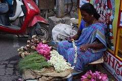 She was selling flowers outside the temple. (Celeste33) Tags: pondicherry flower flowerseller lotus