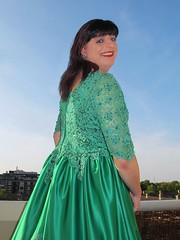 Smile (Paula Satijn) Tags: girl dress gown green skirt satin silk silky shiny ballgown gurl tgirl happy smile joy outside sky