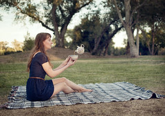 (BrandiDouglas) Tags: blue woman green nature girl happy picnic day alone dress tea surreal floating blanket teacup visualpoem