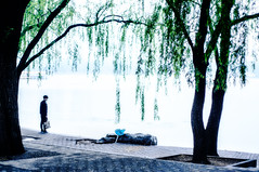 At the Edge of Mystical Waters. (BryonLippincott) Tags: china park street blue trees lake tourism leaves rain businessman butterfly bag waiting rocks alone candid branches sony balloon beijing foggy streetphotography suit explore rainy mostinteresting lonely backlit lonelyplanet traveling damp decisivemoment lonesome drearyday notposed travelchina capturedmoment sonyalpha yuyuanpark 50mm14lightroom streettog