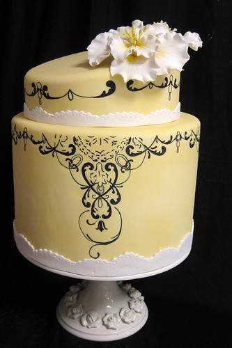 Yellow Painted Scrollwork and Sugar Flower Wedding Cake