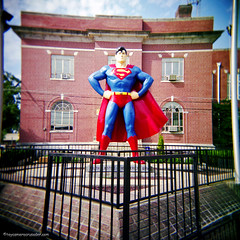 The 'S' Stands for Super (Trippin' all over the place) Tags: blue red color 120 film monument childhood statue mediumformat hope freedom justice dc illinois holga truth comic underwear symbol toycamera patriotic super icon tourist superman american hero strong metropolis