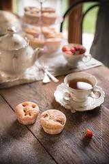 cupcakes-3954-4 (Laura Adani) Tags: red stilllife food flower dessert spring strawberry tea sweet nobody indoors cupcake snack teapot hydrangea icingsugar selectivefocus vertica calorific fruitsummer breakfastsetting standcake