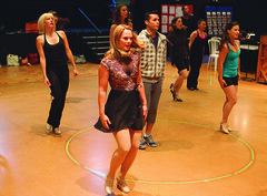 Cast members during rehearsal for A Chorus Line, produced by Music Circus at the Wells Fargo Pavilion June 24 – 29, 2014. Photos by Charr Crail.