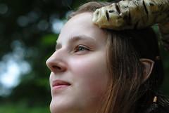 Faun portrait (Ben Gun) Tags: portrait green girl smile lady female dof bokeh hamburg ears elf fantasy horn augen f28 larp faun ohren hrner nikkorf1450mm nordcon nikond3000 elfenohren feenwesen