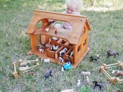 Sam's stable 1 (wildflowertoys) Tags: woodentoys dollhousedolls toybarn bendydoll naturaltoys waldorftoys elvesandangels dollhousefamily toystable wildflowerinnocence