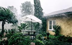 Thunderstorm (Subdive) Tags: storm window rain garden bench table wind blowing vatten thunder regn sigtuna parasoll åska canoneos60d sigma1835mmf18dcart stormbyar tilgärdet